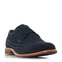 Howick Bander Contrast Stitch Brogue Shoes Navy