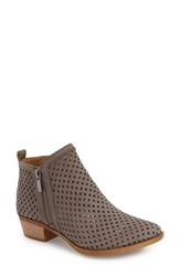 Women's Lucky Brand 'Basel' Perforated Bootie Dark Stone Leather