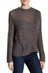 Eileen Fisher Jewel Neck Knit Pullover Gray