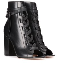 Gianvito Rossi Brooklyn Open Toe Leather Ankle Boots Black