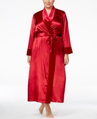 Thalia Sodi Plus Size Velour Trimmed Long Robe Only At Macy's Cranberry Zing