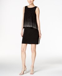 Jessica Howard Embellished Popover Sheath Dress Black