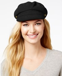 August Hats Artisanal Trims Gold Tone Button Newsboy Cap Black