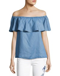 7 For All Mankind Off The Shoulder Ruffle Denim Top Black