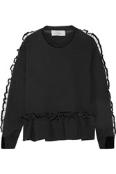 Preen By Thornton Bregazzi Enid Ruffle Trimmed Cotton Terry Sweatshirt Black
