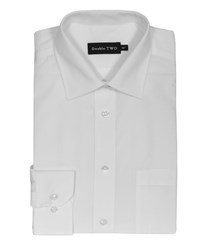 Double Two Men's Non Iron Poplin Long Sleeve Shirt White