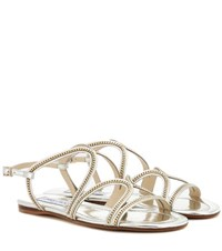 Jimmy Choo Nickel Flat Embellished Metallic Leather Sandals Silver