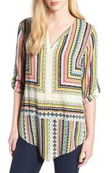 Chaus Geo Voyage Roll Tab Blouse Antique White