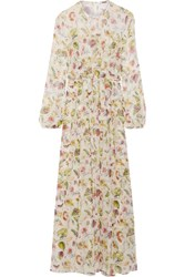 Adam By Adam Lippes Pleated Floral Print Silk Chiffon Maxi Dress Ivory