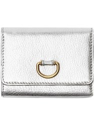 Burberry Small D Ring Metallic Leather Wallet Silver