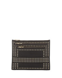 Ash Ruby Leather Grommet Clutch Bag Black