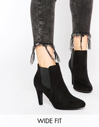 New Look Wide Fit Black Heeled Ankle Boots