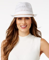 Inc International Concepts Crochet Packable Fedora Only At Macy's White
