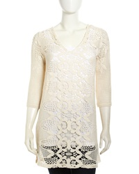 Xcvi Crochet V Neck 3 4 Sleeve Tunic Natural