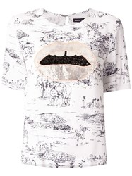 Markus Lupfer Sequin Lips Embroidered T Shirt 60