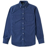 Gitman Brothers Vintage X End. Polka Dot Flannel Shirt Blue