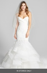 Bliss Monique Lhuillier Lace And Tulle Mermaid Dress In Stores Only Silk White