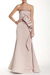 Mikael Aghal Strapless Cascade Gown Beige