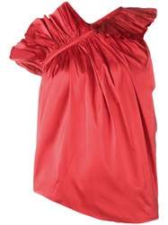 Marques Almeida Marquesalmeida Ruffle One Shoulder Top Red