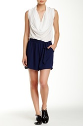 Romeo And Juliet Couture Cowl Neck Colorblock Romper White