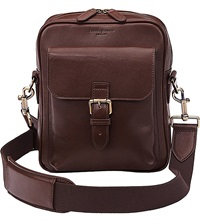 Aspinal Of London Harrison Small Leather Messenger Bag Chocolate