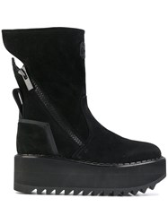 Bruno Bordese Vibram Wedge Boots Leather Suede Rubber Black