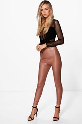 Boohoo Matte Leather Look Leggings Sand