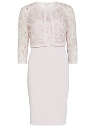 Gina Bacconi Crepe And Embroidered Dress And Jacket Nude