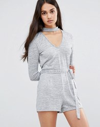 Daisy Street Long Sleeve Playsuit Grey