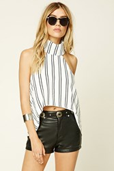Forever 21 Reverse Striped High Low Top White Black