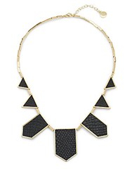 House Of Harlow Geometric Leather Station Necklace Black