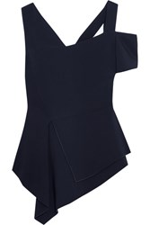 Antonio Berardi Asymmetric Stretch Cady Top Midnight Blue