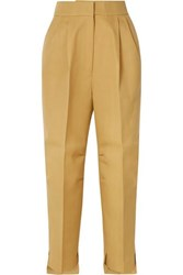 Petar Petrov Cropped Grain De Poudre Wool And Silk Blend Tapered Pants Beige