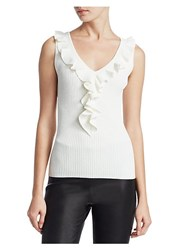 Saks Fifth Avenue Collection Ruffle Tank Top Ivory Princess Blue