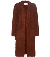 Chloe Oversized Mohair Wool And Cashmere Cardigan Orange