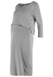 Mama Licious Mlmelow June Jersey Dress Medium Grey Melange Mottled Grey