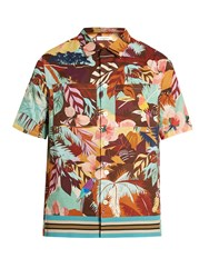 Valentino Tropical Print Short Sleeved Cotton Shirt Multi