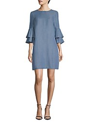 Beach Lunch Lounge Bell Sleeve Shift Dress Medium Blue