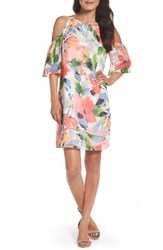 Maggy London Women's Cold Shoulder Shift Dress Soft White Bright Pink