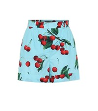 Dolce And Gabbana Exclusive To Mytheresa Cherry Printed Cotton Shorts Blue