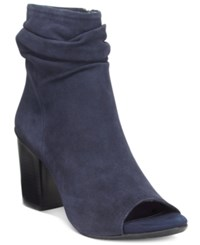 Kenneth Cole Reaction Fridah Coo Slouchy Peep Toe Ankle Booties Women's Shoes Navy