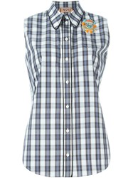 No21 Checked Panel Sleeveless Shirt White