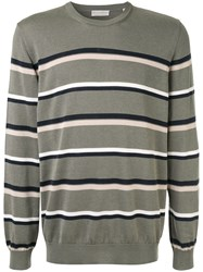 Gieves And Hawkes Horizontal Stripes Jumper Green