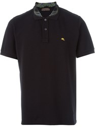 Etro Paisley Collar Polo Shirt Black