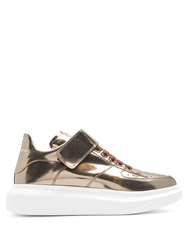 Alexander Mcqueen Raise Sole High Top Leather Trainers Gold Multi