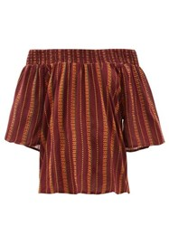 Ace And Jig Marisol Striped Off The Shoulder Cotton Top Burgundy Multi
