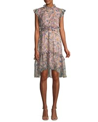 Kendall Kylie Floral Print Ruffle Knee Length Dress Pink Pattern
