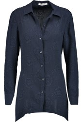 Derek Lam 10 Crosby By Matelasse Silk Shirt Storm Blue