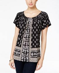 Styleandco. Style Co. Printed Pleat Neck Top Only At Macy's Boho Scarf