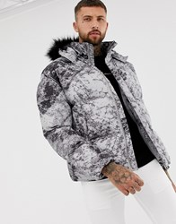 Boohooman Puffer Jacket With Detachable Hood In Gray Gray